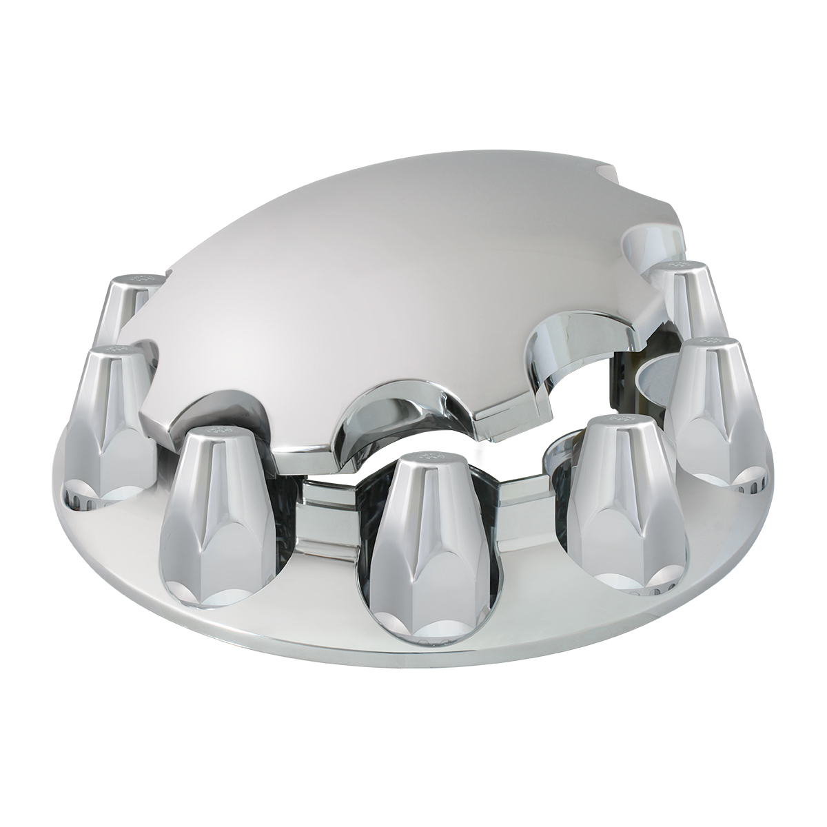 40180 Chrome Plastic ABS Front Axle Cover Set with Locking Tabs & Standard Hub Cap