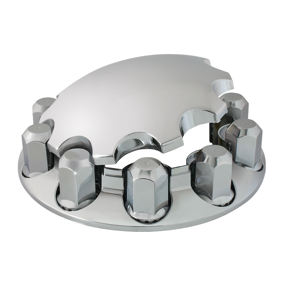 40181 Chrome Plastic ABS Front Axle Cover Set with Locking Tabs & Standard Hub Cap