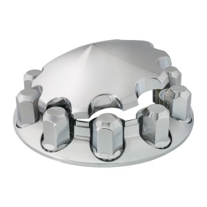 Chrome Plastic ABS Front Axle Cover Set with Locking Tabs & Cone Hub Cap