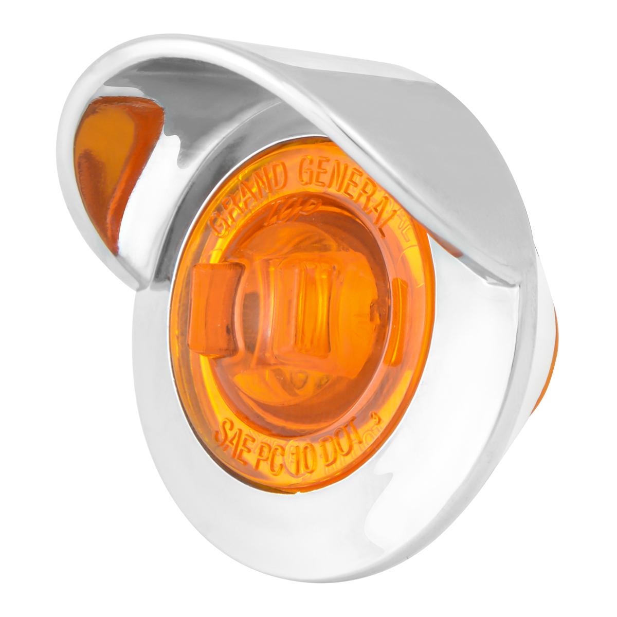 """75250 1"""" Dia. Mini Push/Screw-in Wide Angle LED Marker Light w/ Chrome Bezel & Visor"""