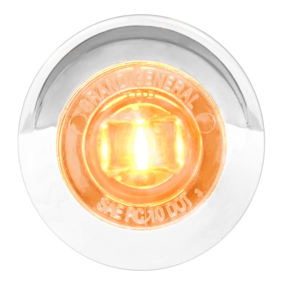 """75251 1"""" Dia. Mini Push/Screw-in Wide Angle LED Marker Light w/ Chrome Bezel & Visor"""