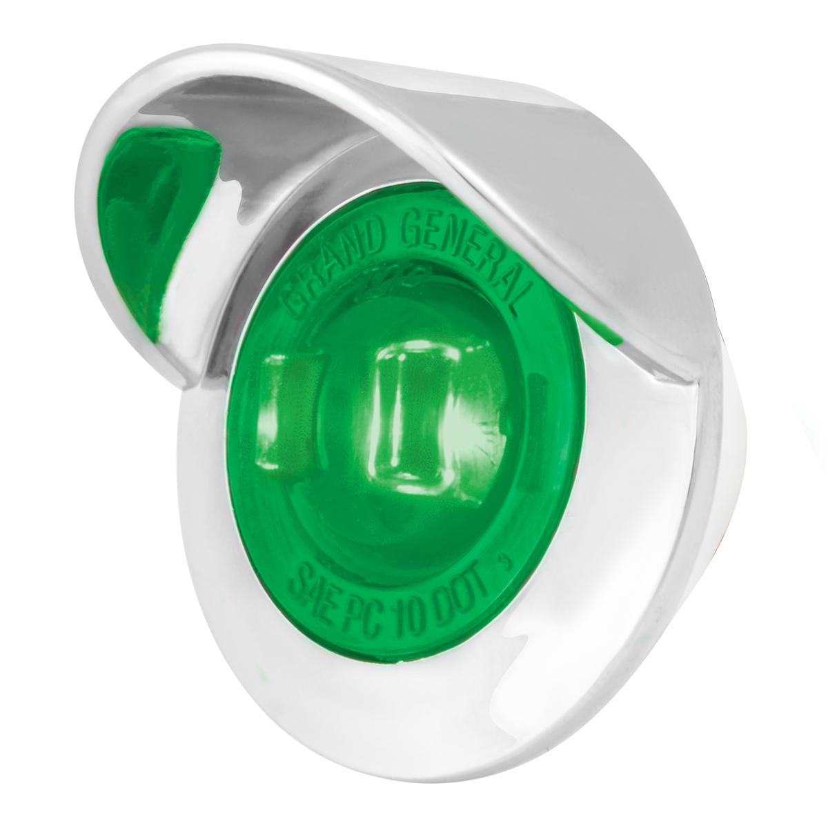 """75256 1"""" Dia. Mini Push/Screw-in Wide Angle LED Marker Light w/ Chrome Bezel & Visor"""