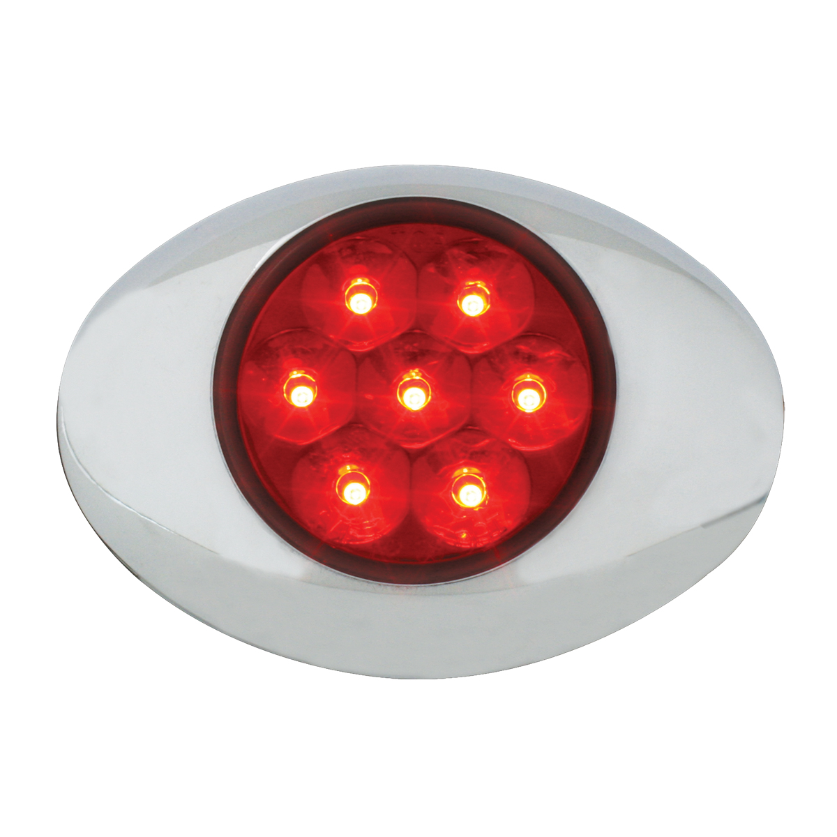76237 Small Low Profile Surface Mount Pearl LED Marker & Turn Light w/ Chrome Bezel