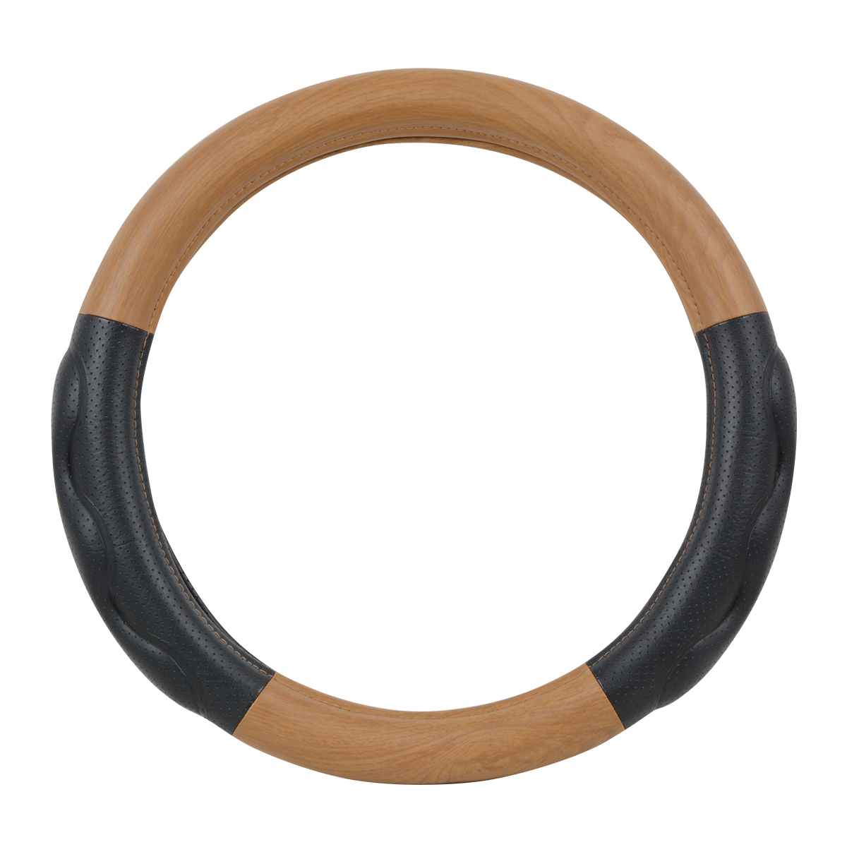 """54058 Heavy Duty 18"""" Steering Wheel Cover in Deluxe+ Matte Natural Wood"""