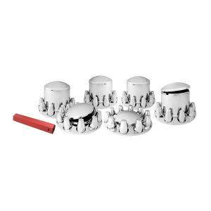 Chrome Plastic Complete Axle Cover Sets with Round Hub Caps