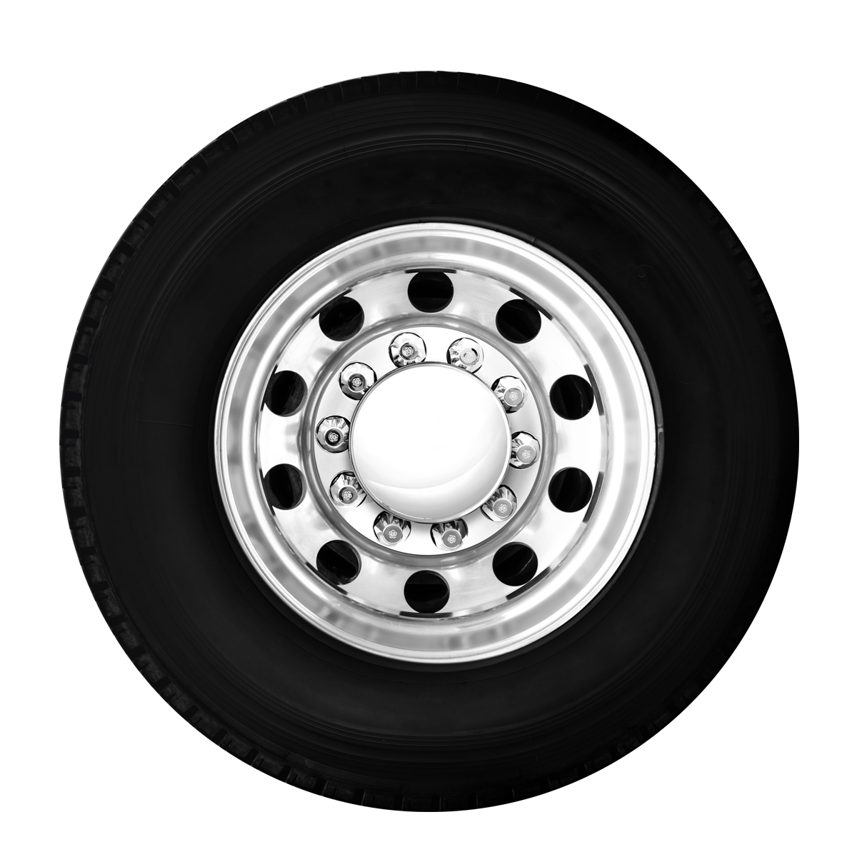 Rear Axle View - Chrome Plastic Complete Axle Cover Sets with Round Hub Caps