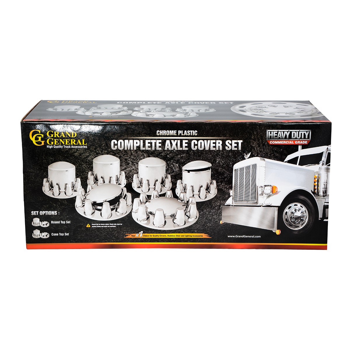 Chrome Plastic Complete Axle Cover Set with Cone Hub Caps