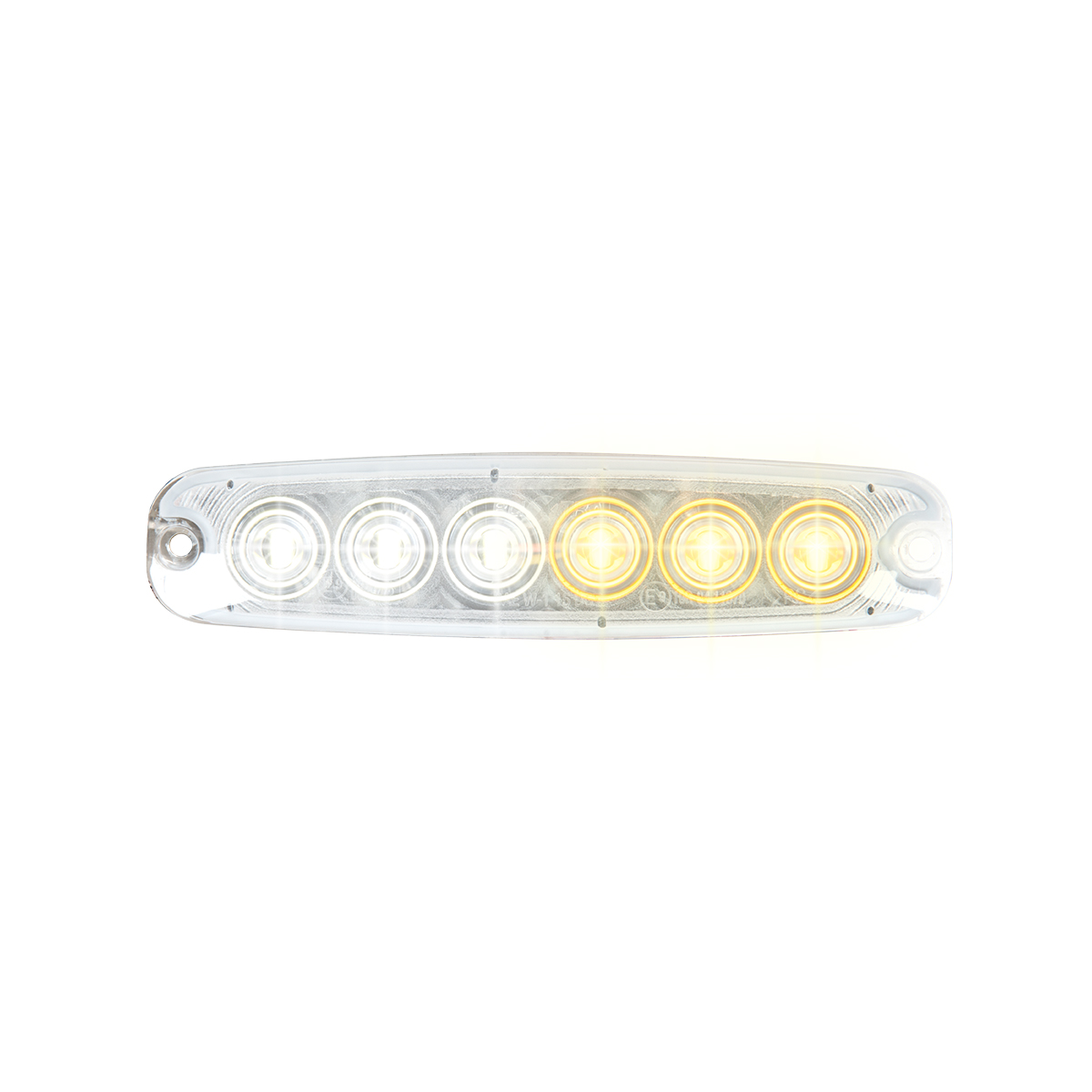 "5 ⅛"" Ultra Thin Strobe LED Light - Amber and White/Clear"