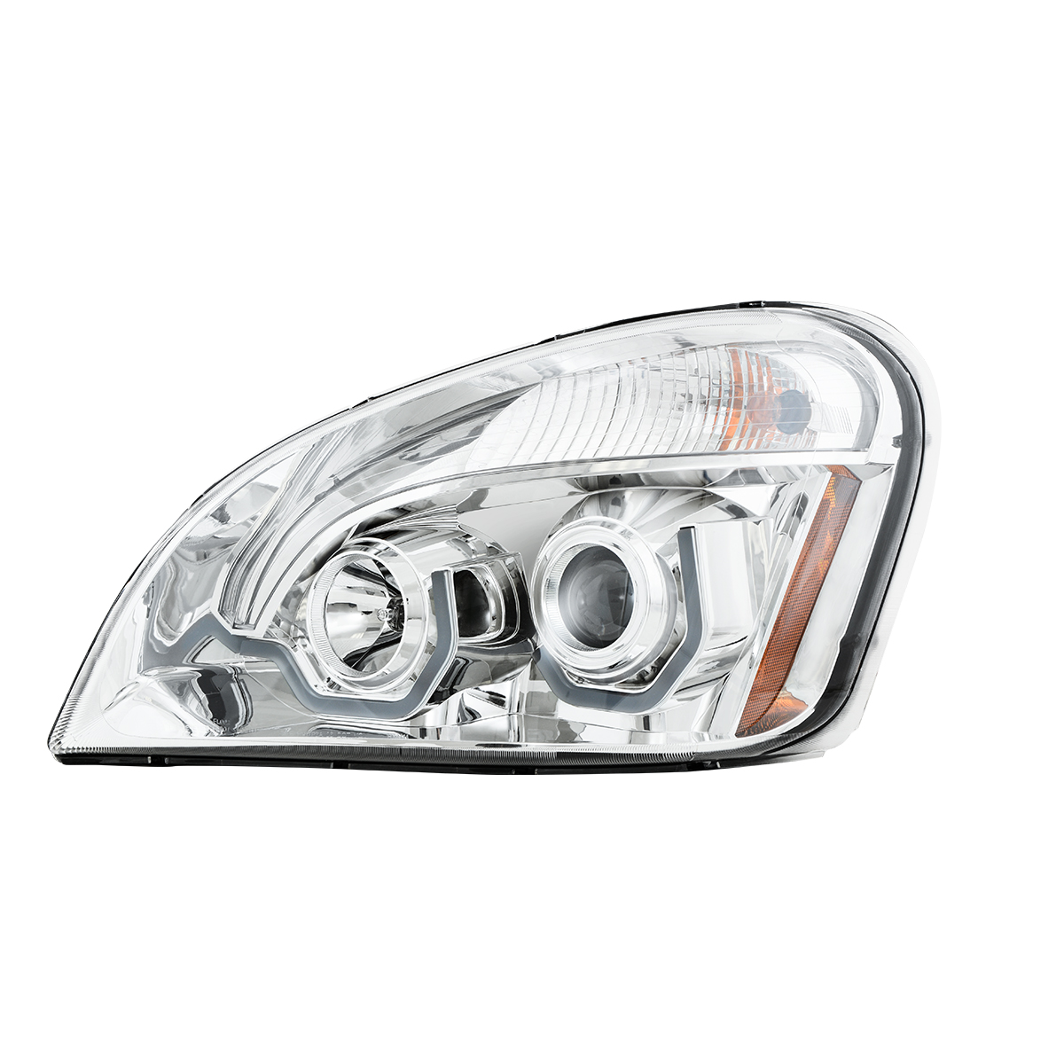 Freightliner Cascadia Chrome Projector Headlight w/ White LED Running Light