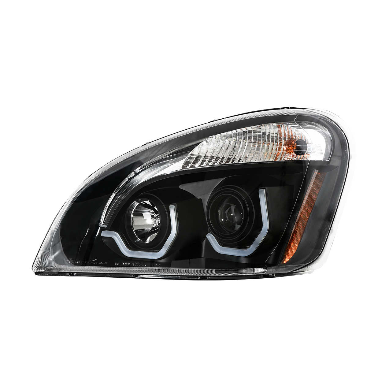 Freightliner Cascadia Matte Black Projector Headlight w/ White LED Running Light