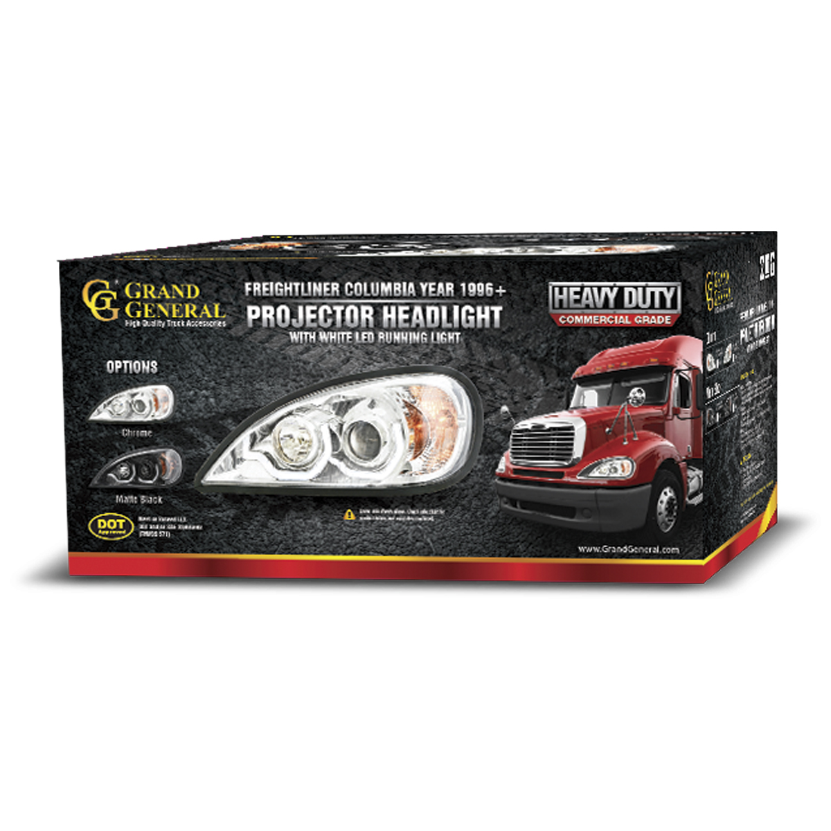 Freightliner Columbia Matte Black Projector Headlight w/ White LED Running Light