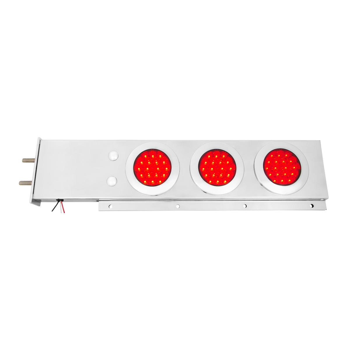 "Stainless Steel Spring-Loaded Two Piece Rear Light Bar w/ 4"" Fleet LEDs & Chrome Bezels"