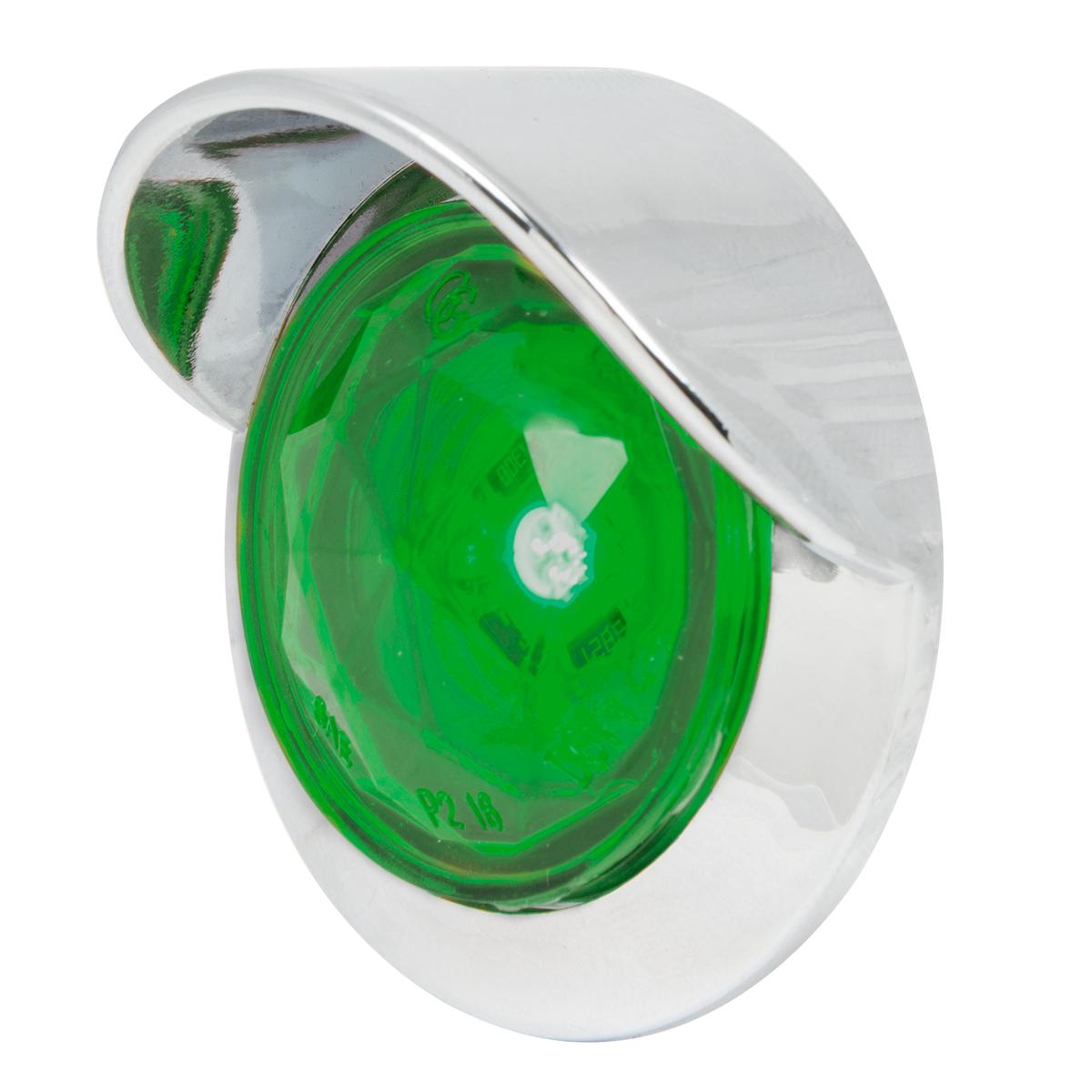 "1"" Dia. Dual Function Diamond Lens LED Light with Chrome Plastic Bezel w/ Visor and Nut"