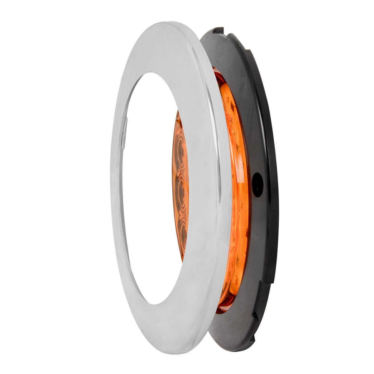 "75880 4"" Fleet Flange Mount LED Light with Chrome Twist & Lock Bezel in 3 Wires"
