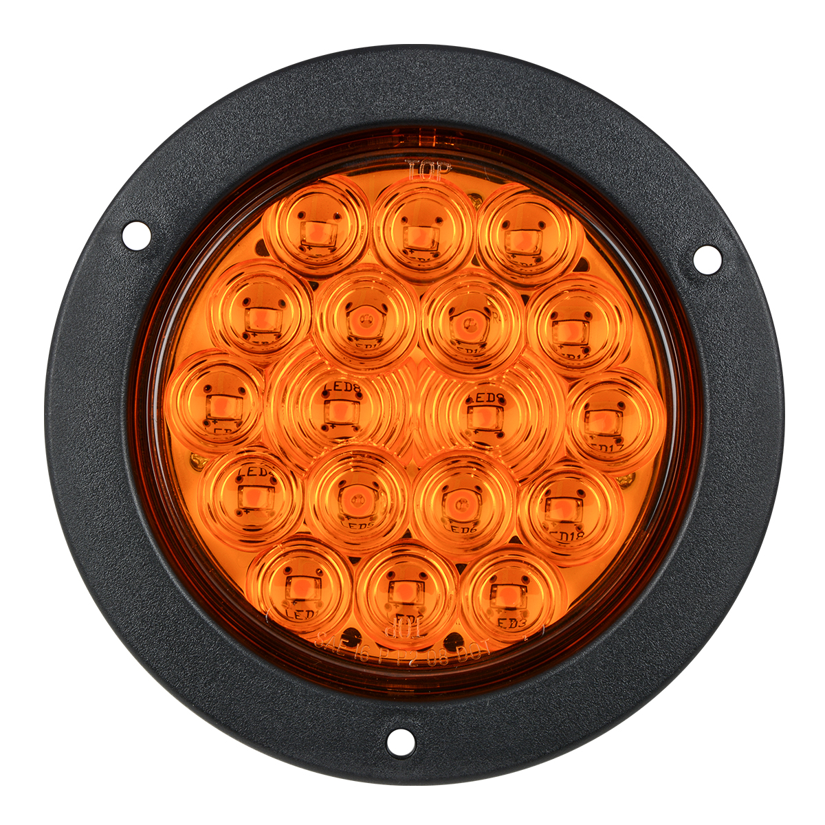 "75890 4"" Fleet LED Light with Black Flange Mount in 3 Wires"